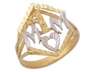 Anillo Asombroso Diamantado Con Frase I Love You En Oro De Dos Tonos De (OM#10365)