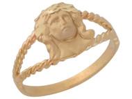 Anillo Diamantado Con Diseno De Curda E Imagen De Jesus En Oro Amarillo De (OM#10406)
