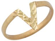 Anillo Lindo Diamantado Con Diseno En Estilo V Moderno En Oro Amarillo De (OM#10408)