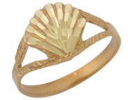 Anillo Diamantado Con Aro Partido En Forma De Concha De Mar En Oro Amarillo De (OM#10418)