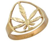 Anillo Diamantado Con Aro Partido Y Oja De Marihuana En Oro Amarillo De (OM#10419)