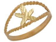 Anillo Lindo Diamantado Con Estrella En Oro Amarillo De (OM#10420)