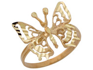 Anillo Deslumbrante Diamantado Con Mariposa En Oro Amarillo De (OM#10422)