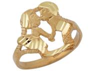 Anillo Lindo De Moda Diamantado Con Ninos Besandose En Oro Amarillo De (OM#10423)