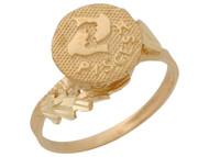 Anillo Hermoso Diamantado De Piscis Signo Zodiaco De Astrologia En Oro (OM#10428)
