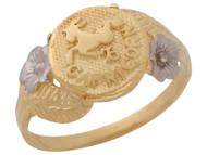Anillo Diamantado Floral De Capricornio Signo Zodiaco En Oro De Dos Tonos (OM#10438)