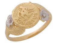Anillo Diamantado Floral De Acuario Signo Zodiaco Astrologia En Oro 2 Tonos (OM#10439)