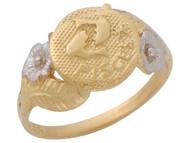 Anillo Diamantado Floral De Piscis Signo Zodiaco Astrologia En Oro Dos Tonos (OM#10440)