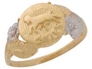 Anillo Diamantado Floral De Aries Signo Zodiaco Astrologia En Oro De 2 Tonos (OM#10441)