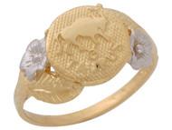 Anillo Diamantado Floral De Tauro Signo Zodiaco Astrologia En Oro De 2 Tonos (OM#10442)