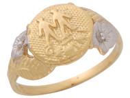 Anillo Diamantado Floral De Geminis Signo Zodiaco Astrologia En Oro 2 Tonos (OM#10443)