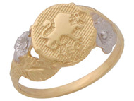 Anillo Diamantado Floral De Leo Signo Zodiaco Astrologia En Oro De Dos Tonos (OM#10445)