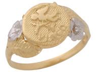 Anillo Diamantado Floral De Virgo Signo Zodiaco Astrologia En Oro De 2 Tonos (OM#10446)
