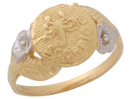 Anillo Diamantado Floral De Escorpio Signo Zodiaco Astrologia En Oro 2 Tonos (OM#10448)