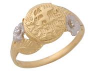 Anillo Diamantado Floral De Sagitario Signo Zodiaco En Oro De Dos Tonos (OM#10449)
