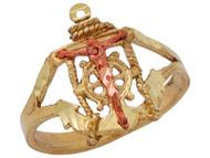 Anillo Diamantado De Crucifijo De Marinero Con Ancla En Oro De Dos Tonos De (OM#10476)