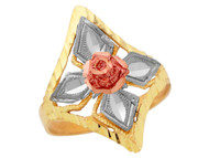 Anillo Ancho Espectacular Diamantado Para Dama Estilo Floral En Oro Amarillo (OM#10487)