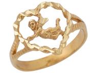 Anillo Lindo Diamantado De Angel Cupido Con Marco De Corazon En Oro Amarillo (OM#10499)