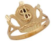 Anillo Diamantado Con Diseno De Corona Con Signo De Dollar En Oro Amarillo (OM#10507)