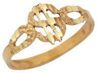 Anillo Diamantado Para Dama Con Diseno De Signo De Dollar En Oro Amarillo De (OM#10513)