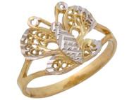 Anillo Diamantado Asombroso De Dama Estilo Mariposa Filigrana En Oro 2 Tonos (OM#10520)