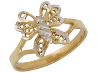 Anillo Diamantado Lindo De Dama Estilo Mariposa Filigrana En Oro De 2 Tonos (OM#10521)