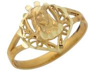Anillo Diamantado Impresionante Religioso Con Imagen De Jesus En Oro De (OM#10525)