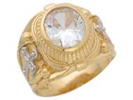 Anillo De Hombre Del Mes Abril Con Cruces Y Circonita Blanca En Oro De 2 Tonos (OM#10665)