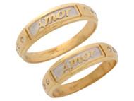 Anillos Duo Hermosos De Matrimonio Para Dos Con Circonita En Oro De 2 Tonos (OM#10669)