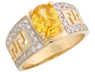 Anillo De Dama Diseno Griego Circonita Amarilla Noviembre En Oro De 2 Tonos (OM#1685)