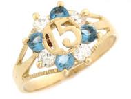 Anillo De Quinceanera Con Circonita Circon Azul Y Blanca En Oro Amarillo De (OM#2391)