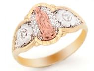Anillo Diamantado Con Imagen De La Virgen De Guadalupe En Oro Multi-color (OM#2425)