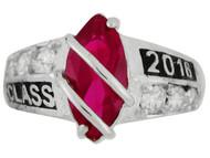 Anillo De Graduacion Clase 2016 Con Rubi Simulado De Julio En Oro Blanco (OM#2511)