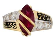 Anillo De Graduacion Clase 2016 Con Granate Simulado Natal De Enero En Oro (OM#2511)