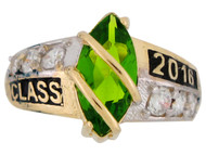 Anillo De Graduacion Clase 2016 Con Peridoto Simulado Natal De Agosto En Oro (OM#2511)