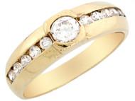 Anillo De Matrimonio De Lujo Para Hombre Con Circonita En Oro De 10k (OM#2771)