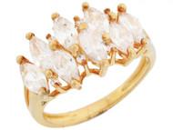 Anillo De Aniversario Con Circonitas Redondas Y Marquise En Oro Amarillo (OM#3184)
