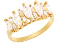 Anillo De Aniversario Hermoso De Circonita Marquise Y Baguette En Oro De (OM#3190)