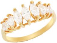 Anillo De Aniversario Hermoso Con Circonita En Corte Marquise En Oro De (OM#3191)