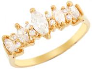 Anillo De Aniversario Elegante Circonita Marquise Y Redonda En Oro Amarillo (OM#3197)