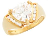 Anillo Con Circonita 9mm Corte Trillante Y Acentos Redondos En Oro Amarillo (OM#3208)