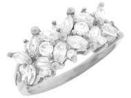 Anillo Floral De Aniversario Con Circonita Marquise Y Redonda En Oro Blanco (OM#3210)