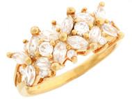 Anillo Floral De Aniversario Con Circonita Marquise Y Redonda En Oro De (OM#3210)