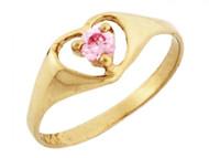 Anillo De Bebe De Corazon Con Piedra Natal De Octubre Circonita Rosa En Oro (OM#3284)