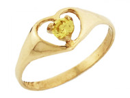 Anillo De Bebe Corazon Con Piedra Natal Noviembre Circonita Amarilla En Oro (OM#3284)
