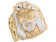 Anillo Grande Para Hombre Religioso Cristiano Con Circonita En Oro Dos Tonos (OM#3286)