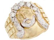 Anillo Pequeno Circonita De Jesus Para Hombre Religioso En Oro De Dos Tonos (OM#3293)