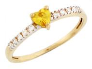 Anillo Con Piedra Natal Noviembre Corazon Circonita Amarilla En Oro 2 Tonos (OM#3476)