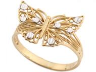 Anillo Diamantado Estilo Mariposa En Filigrana En Oro De Dos Tonos Real De (OM#3590)