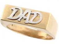 Anillo De Alto Brillo Para Hombre Con Palabre Dad Papa En Oro De 2 Tonos (OM#3591)